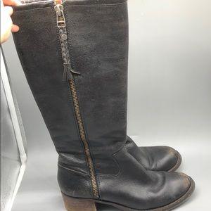 Sam Edelman black leather knee high riding boots